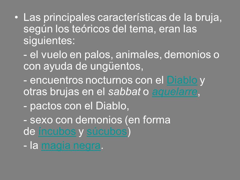 Las principales características de la bruja, según los teóricos del tema, eran las siguientes: