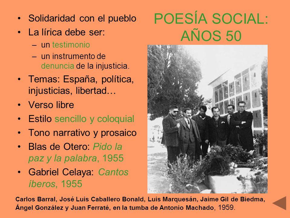 POESÍA SOCIAL: AÑOS 50 Solidaridad con el pueblo La lírica debe ser: