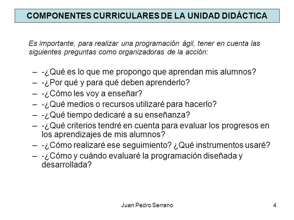 COMPONENTES CURRICULARES DE LA UNIDAD DIDÁCTICA