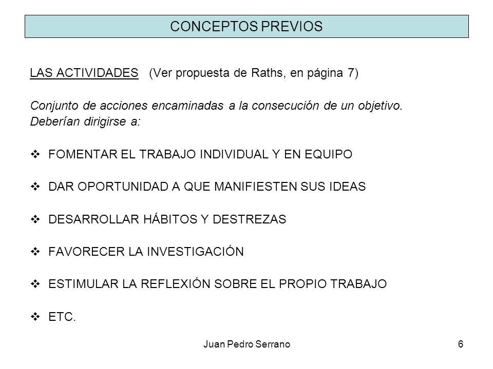 CONCEPTOS PREVIOS LAS ACTIVIDADES (Ver propuesta de Raths, en página 7) Conjunto de acciones encaminadas a la consecución de un objetivo.