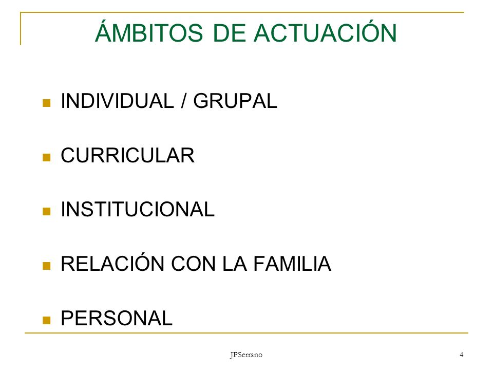 ÁMBITOS DE ACTUACIÓN INDIVIDUAL / GRUPAL CURRICULAR INSTITUCIONAL