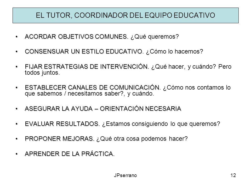 EL TUTOR, COORDINADOR DEL EQUIPO EDUCATIVO