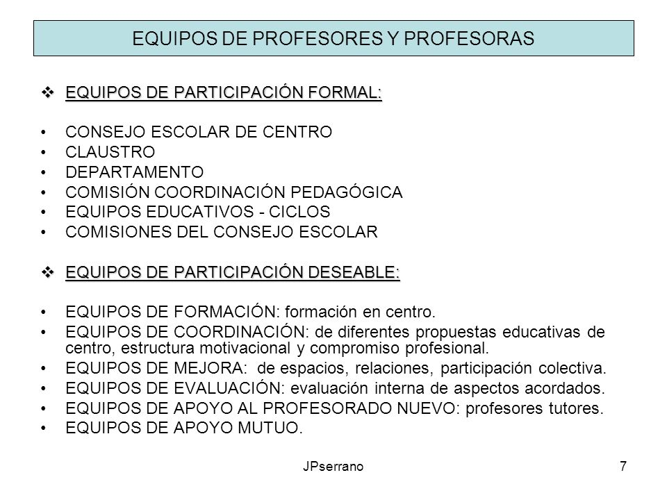 EQUIPOS DE PROFESORES Y PROFESORAS