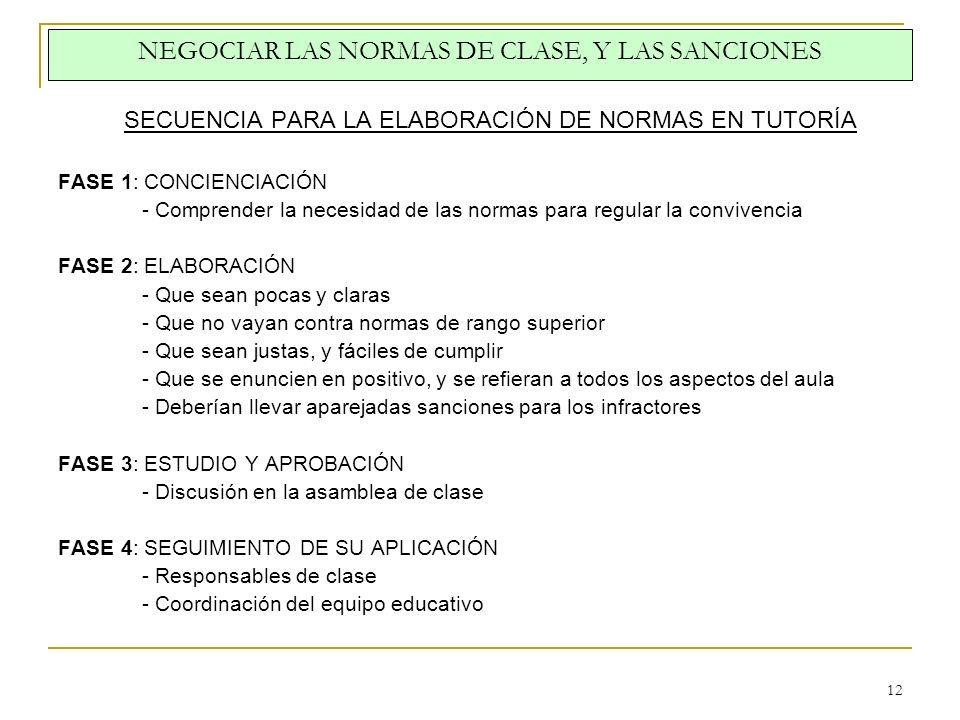 NEGOCIAR LAS NORMAS DE CLASE, Y LAS SANCIONES