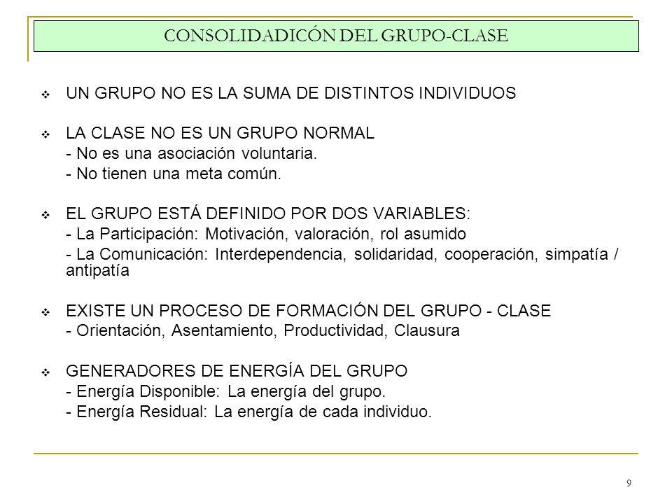 CONSOLIDADICÓN DEL GRUPO-CLASE