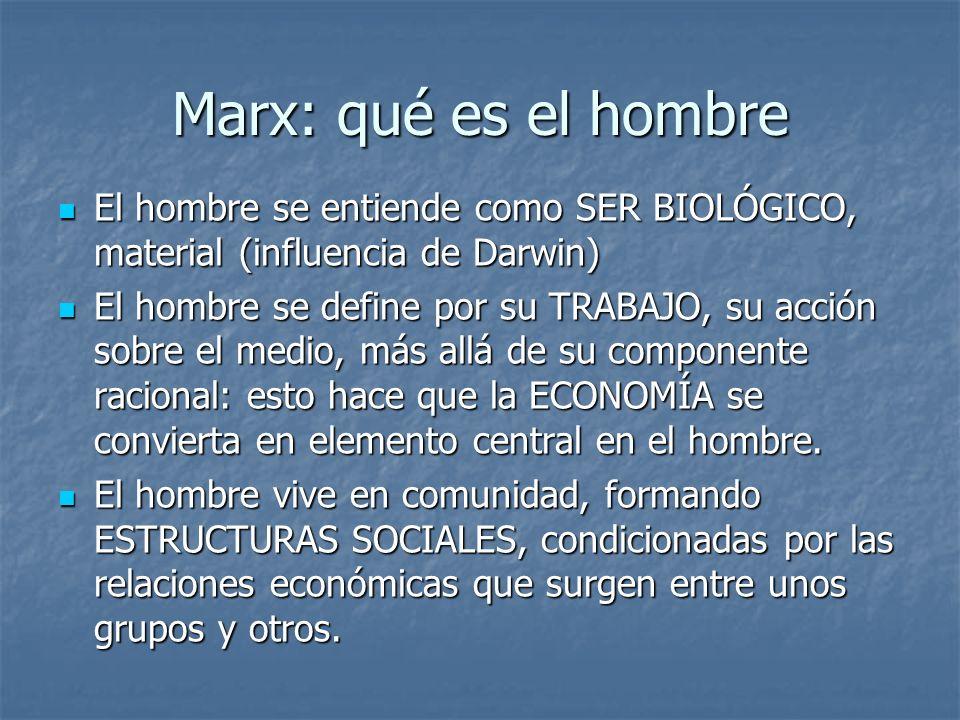Marx: qué es el hombre El hombre se entiende como SER BIOLÓGICO, material (influencia de Darwin)