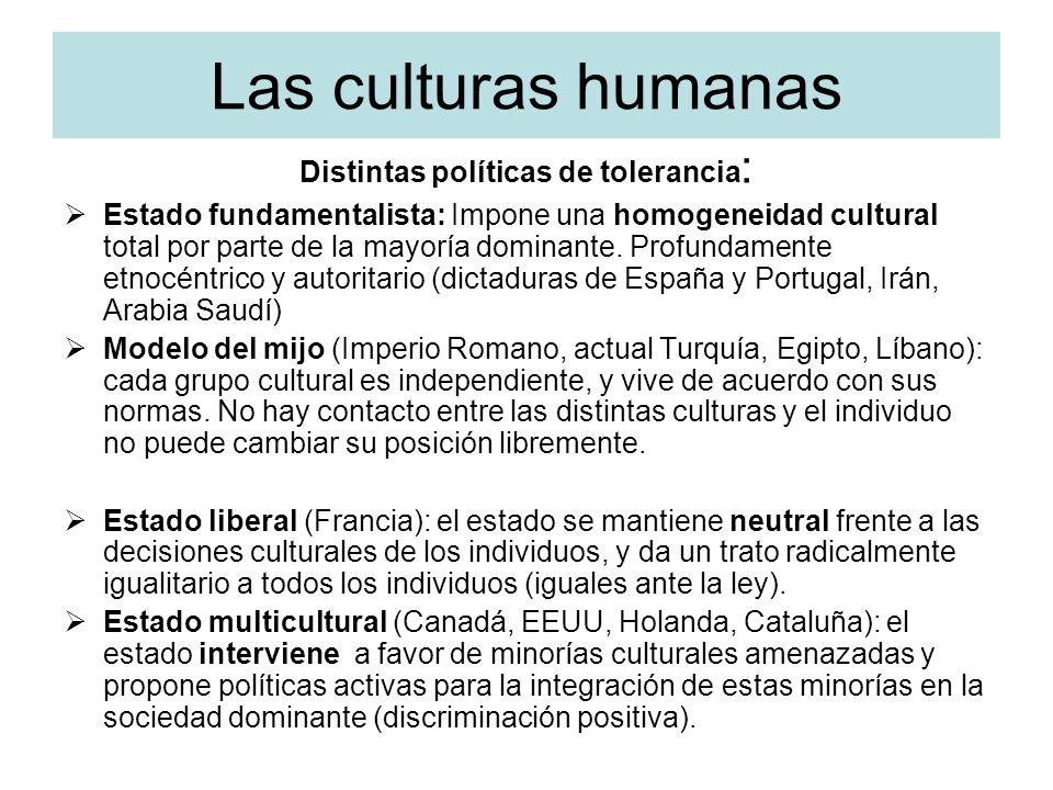 Distintas políticas de tolerancia: