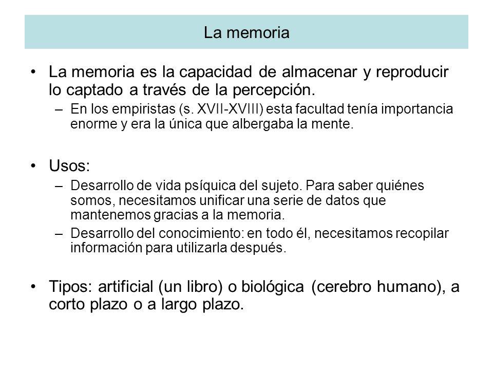 La memoria La memoria es la capacidad de almacenar y reproducir lo captado a través de la percepción.