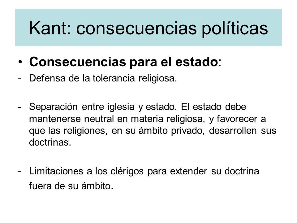 Kant: consecuencias políticas