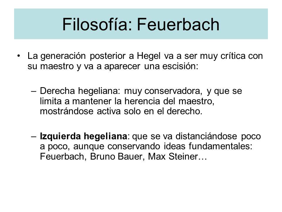 Filosofía: Feuerbach La generación posterior a Hegel va a ser muy crítica con su maestro y va a aparecer una escisión: