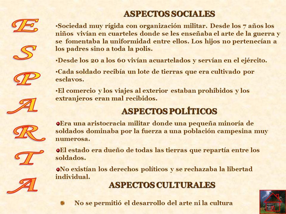 ESPARTA ASPECTOS SOCIALES ASPECTOS POLÍTICOS ASPECTOS CULTURALES