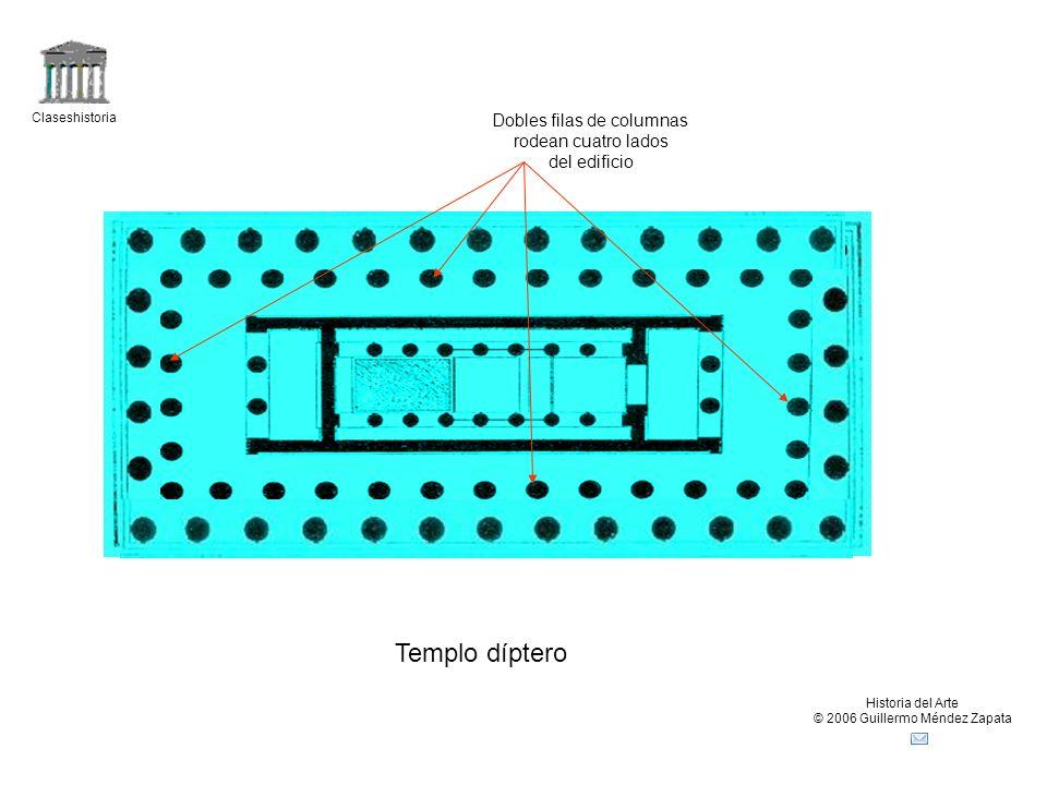 Templo díptero Dobles filas de columnas rodean cuatro lados