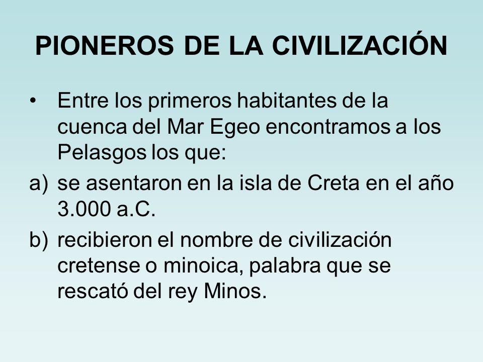 PIONEROS DE LA CIVILIZACIÓN