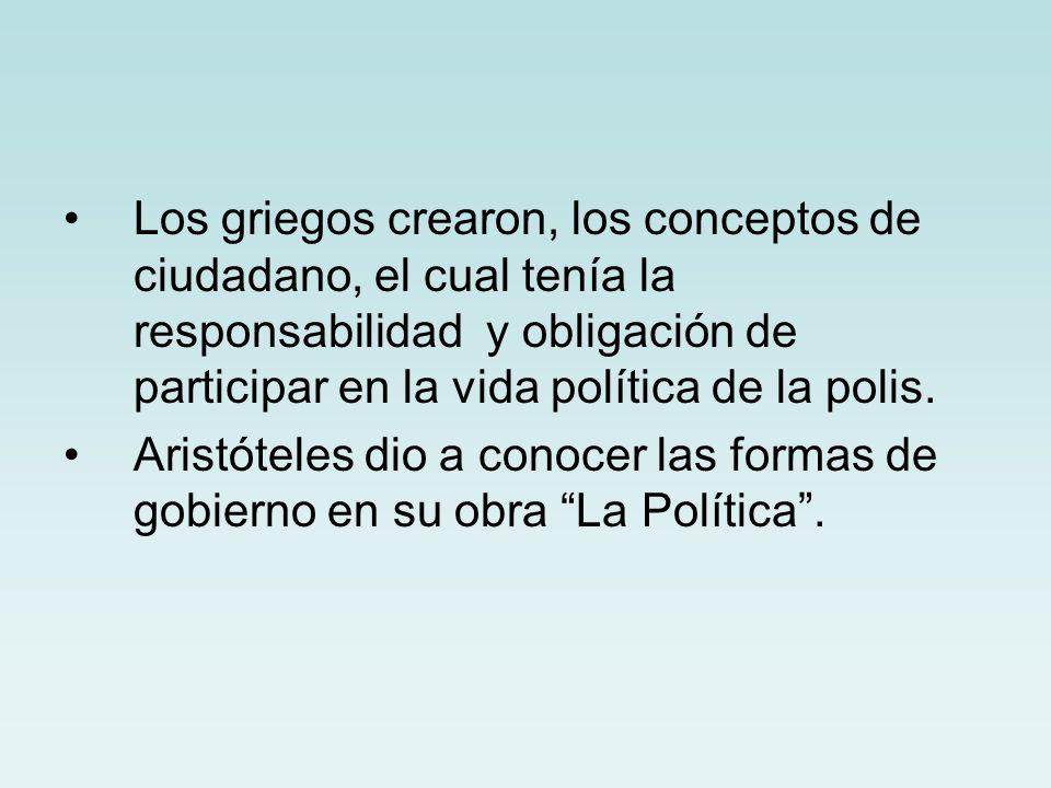 Los griegos crearon, los conceptos de ciudadano, el cual tenía la responsabilidad y obligación de participar en la vida política de la polis.