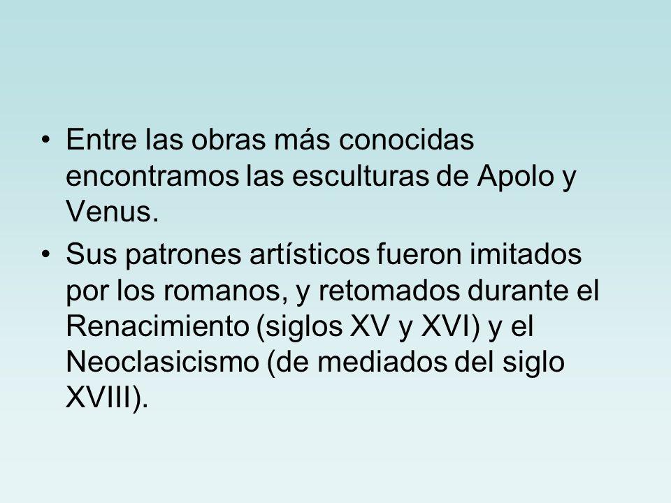 Entre las obras más conocidas encontramos las esculturas de Apolo y Venus.