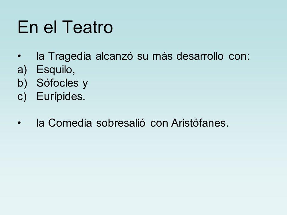 En el Teatro la Tragedia alcanzó su más desarrollo con: Esquilo,