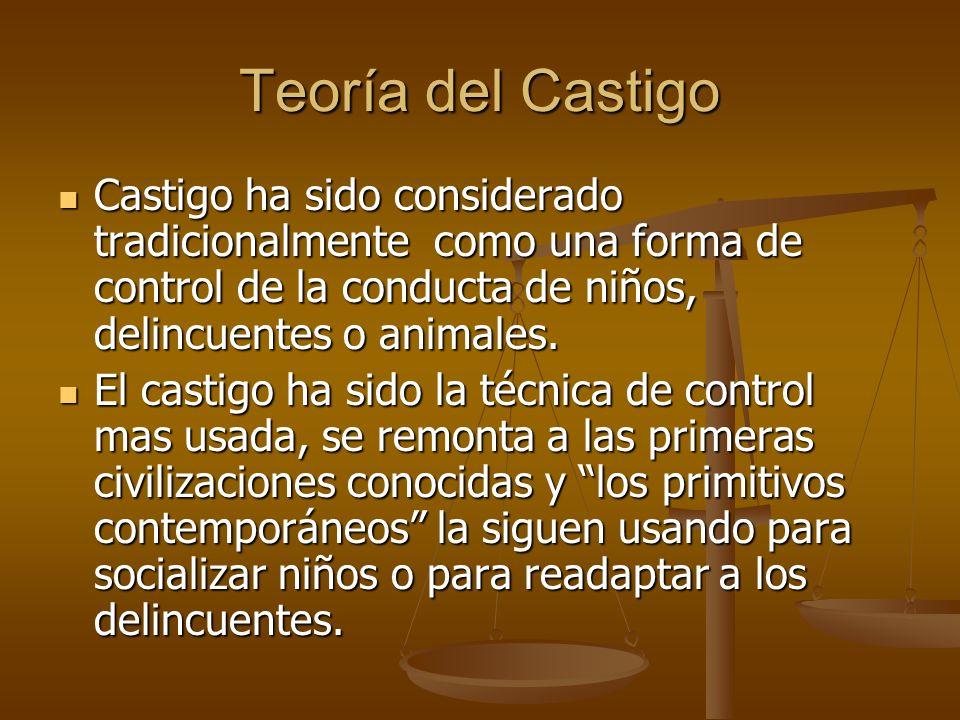 Teoría del Castigo Castigo ha sido considerado tradicionalmente como una forma de control de la conducta de niños, delincuentes o animales.