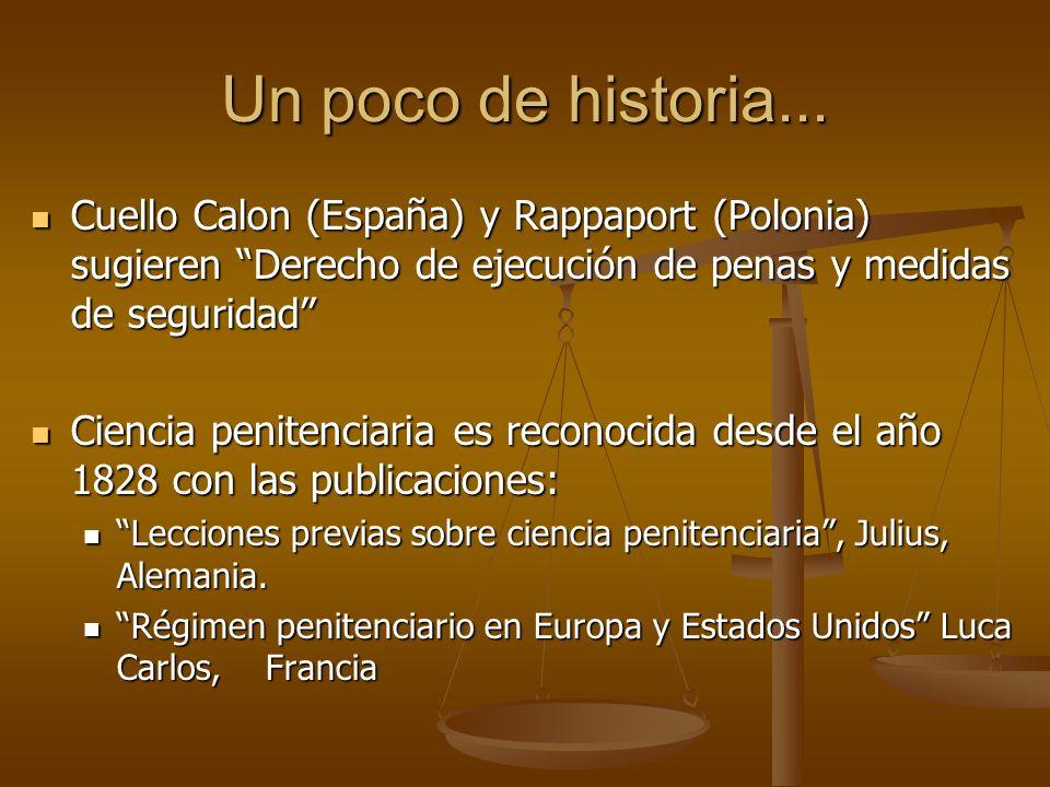 Un poco de historia...Cuello Calon (España) y Rappaport (Polonia) sugieren Derecho de ejecución de penas y medidas de seguridad