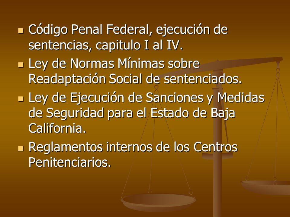 Código Penal Federal, ejecución de sentencias, capitulo I al IV.