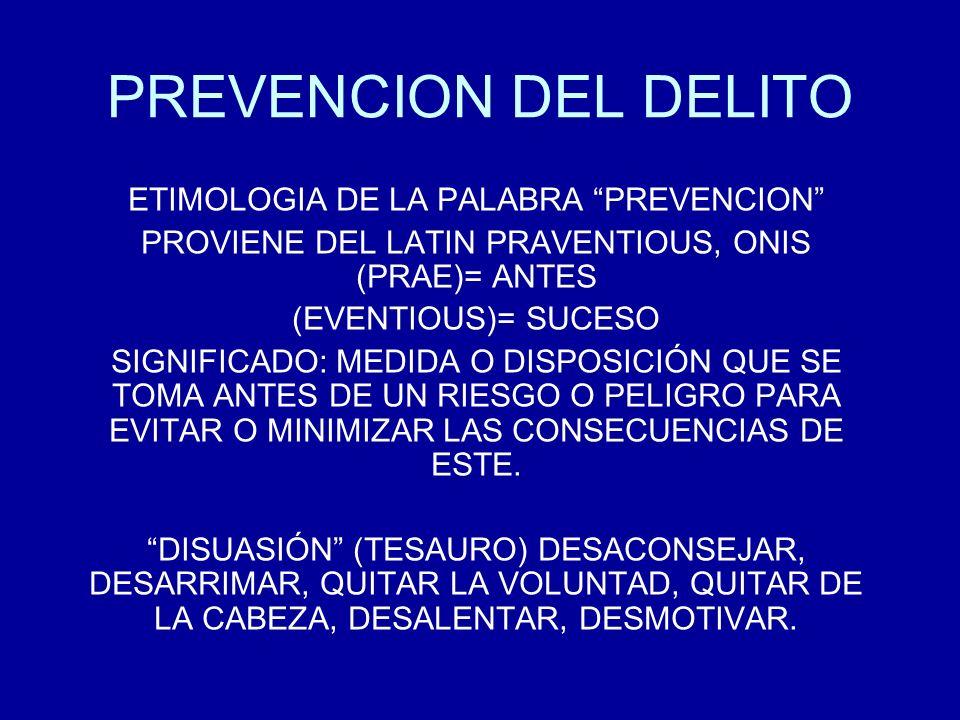 PREVENCION DEL DELITO ETIMOLOGIA DE LA PALABRA PREVENCION