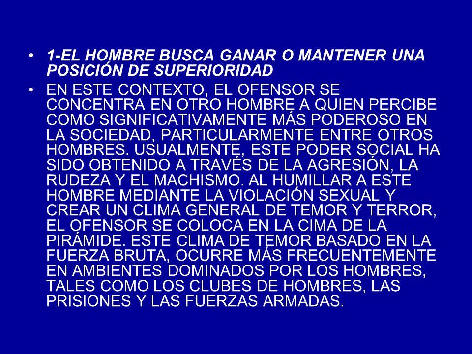 1-EL HOMBRE BUSCA GANAR O MANTENER UNA POSICIÓN DE SUPERIORIDAD