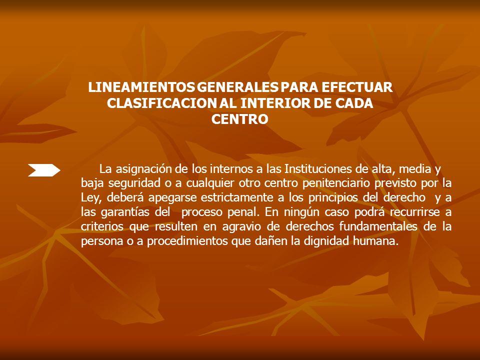 LINEAMIENTOS GENERALES PARA EFECTUAR CLASIFICACION AL INTERIOR DE CADA CENTRO