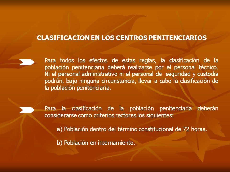 CLASIFICACION EN LOS CENTROS PENITENCIARIOS