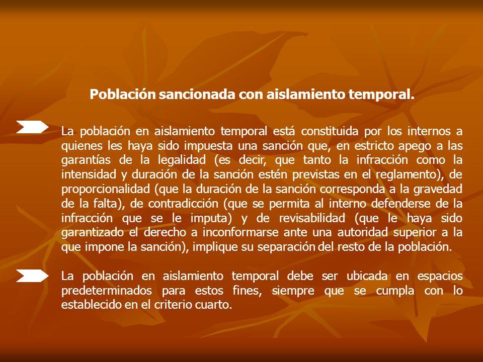 Población sancionada con aislamiento temporal.