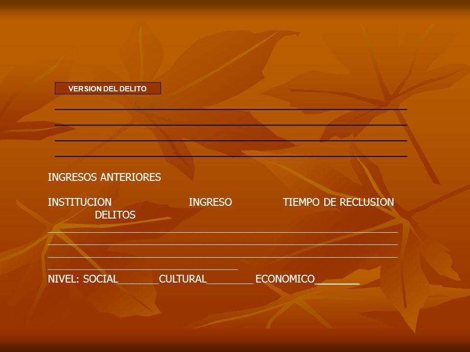 INSTITUCION INGRESO TIEMPO DE RECLUSION DELITOS