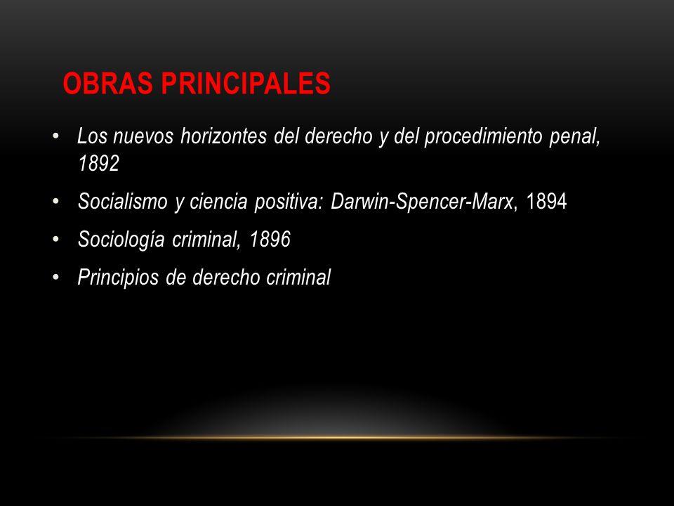 Obras PrincipalesLos nuevos horizontes del derecho y del procedimiento penal, 1892. Socialismo y ciencia positiva: Darwin-Spencer-Marx, 1894.