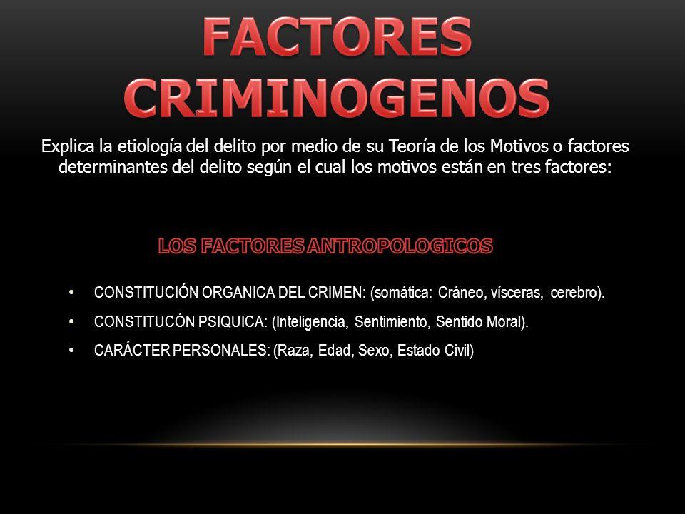 FACTORES CRIMINOGENOS LOS FACTORES ANTROPOLOGICOS