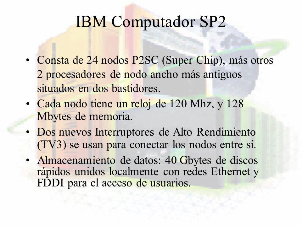 IBM Computador SP2Consta de 24 nodos P2SC (Super Chip), más otros 2 procesadores de nodo ancho más antiguos situados en dos bastidores.