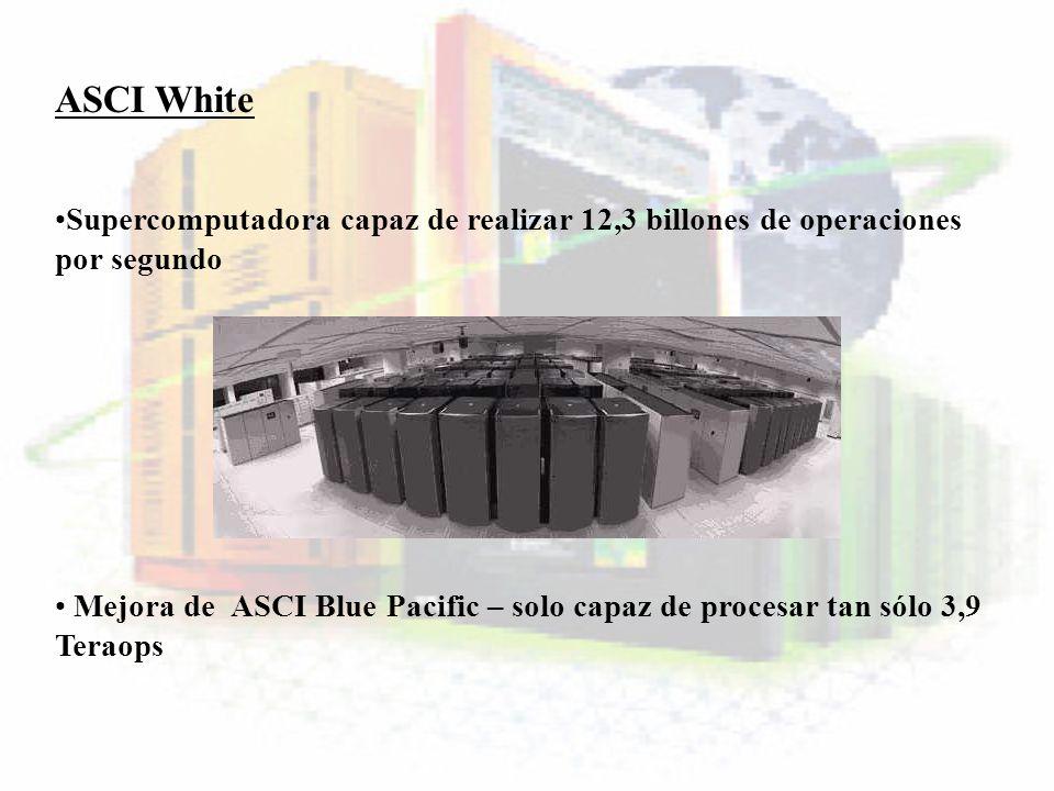 ASCI WhiteSupercomputadora capaz de realizar 12,3 billones de operaciones por segundo.