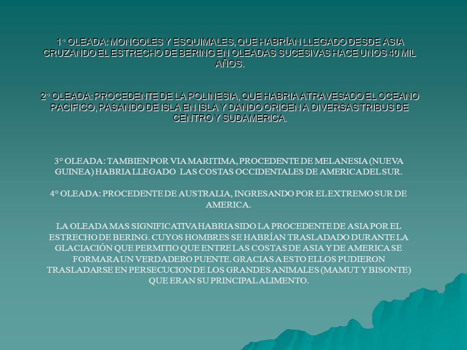 1° OLEADA: MONGOLES Y ESQUIMALES, QUE HABRÍAN LLEGADO DESDE ASIA CRUZANDO EL ESTRECHO DE BERING EN OLEADAS SUCESIVAS HACE UNOS 40 MIL AÑOS. 2° OLEADA: PROCEDENTE DE LA POLINESIA, QUE HABRIA ATRAVESADO EL OCEANO PACIFICO, PASANDO DE ISLA EN ISLA Y DANDO ORIGEN A DIVERSAS TRIBUS DE CENTRO Y SUDAMERICA.