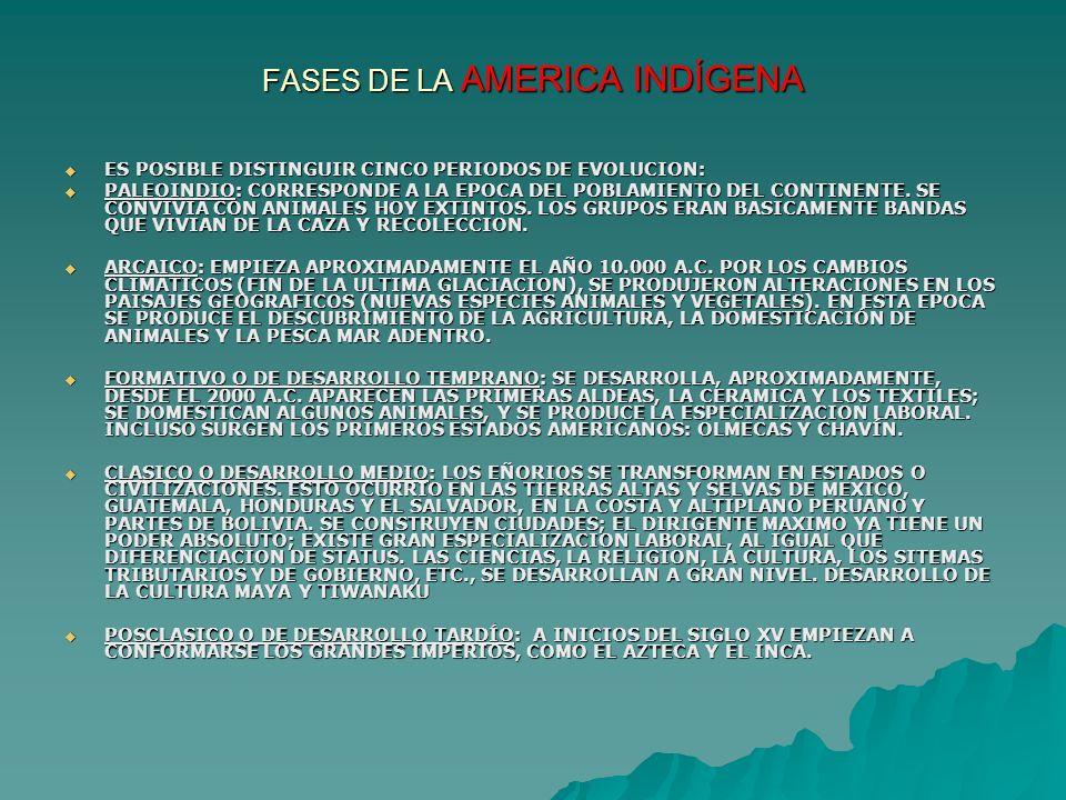 FASES DE LA AMERICA INDÍGENA