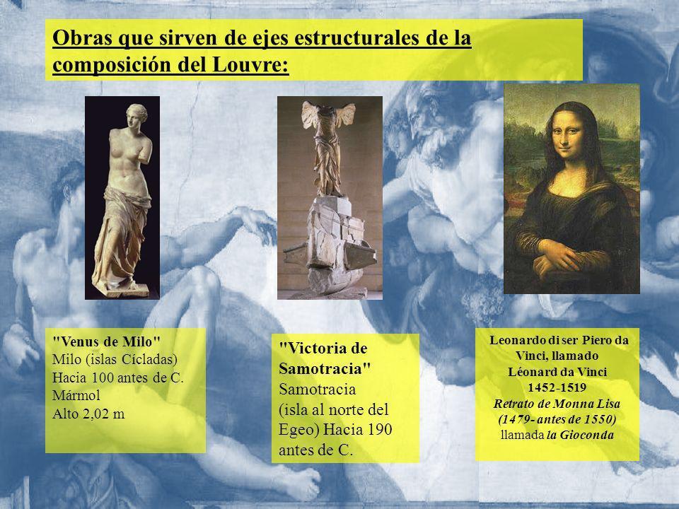 Obras que sirven de ejes estructurales de la composición del Louvre: