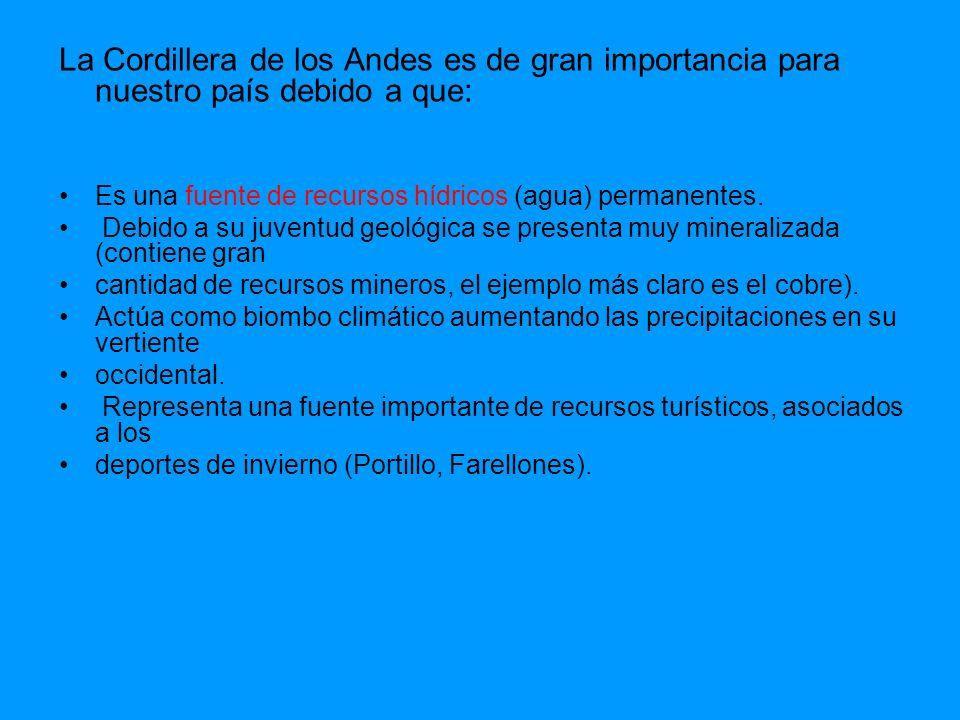 La Cordillera de los Andes es de gran importancia para nuestro país debido a que: