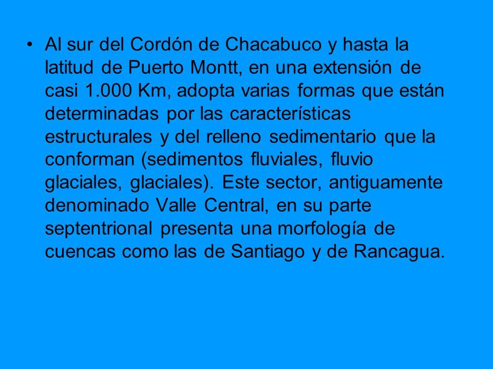 Al sur del Cordón de Chacabuco y hasta la latitud de Puerto Montt, en una extensión de casi 1.000 Km, adopta varias formas que están determinadas por las características estructurales y del relleno sedimentario que la conforman (sedimentos fluviales, fluvio glaciales, glaciales).