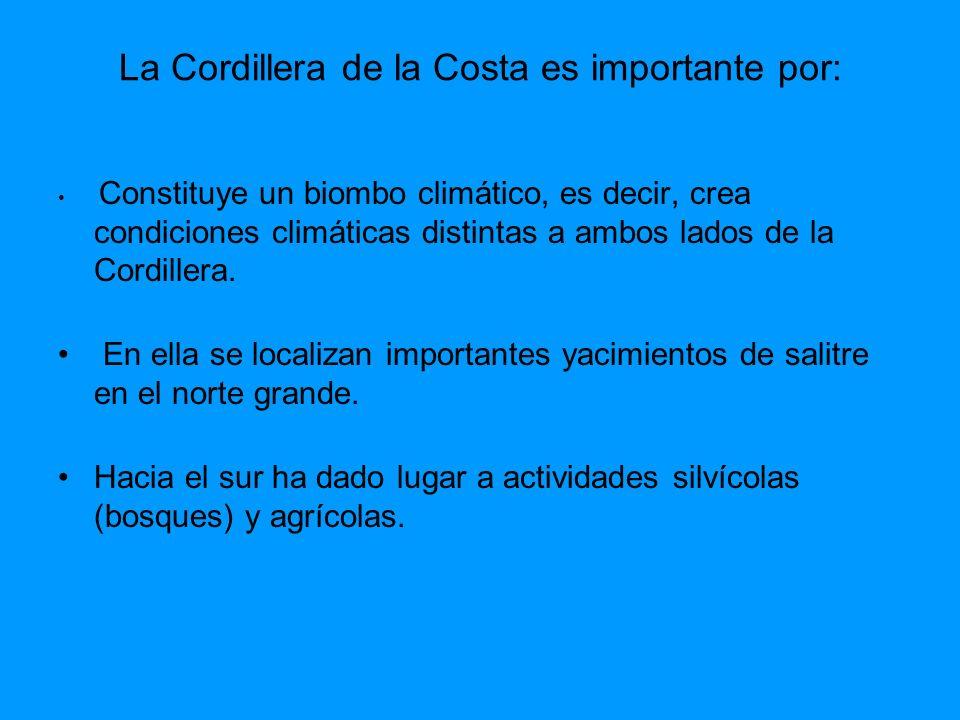 La Cordillera de la Costa es importante por: