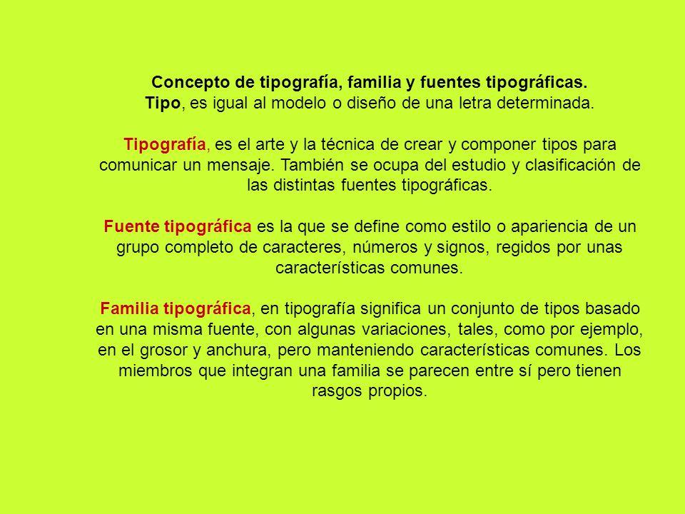 Concepto de tipografía, familia y fuentes tipográficas.