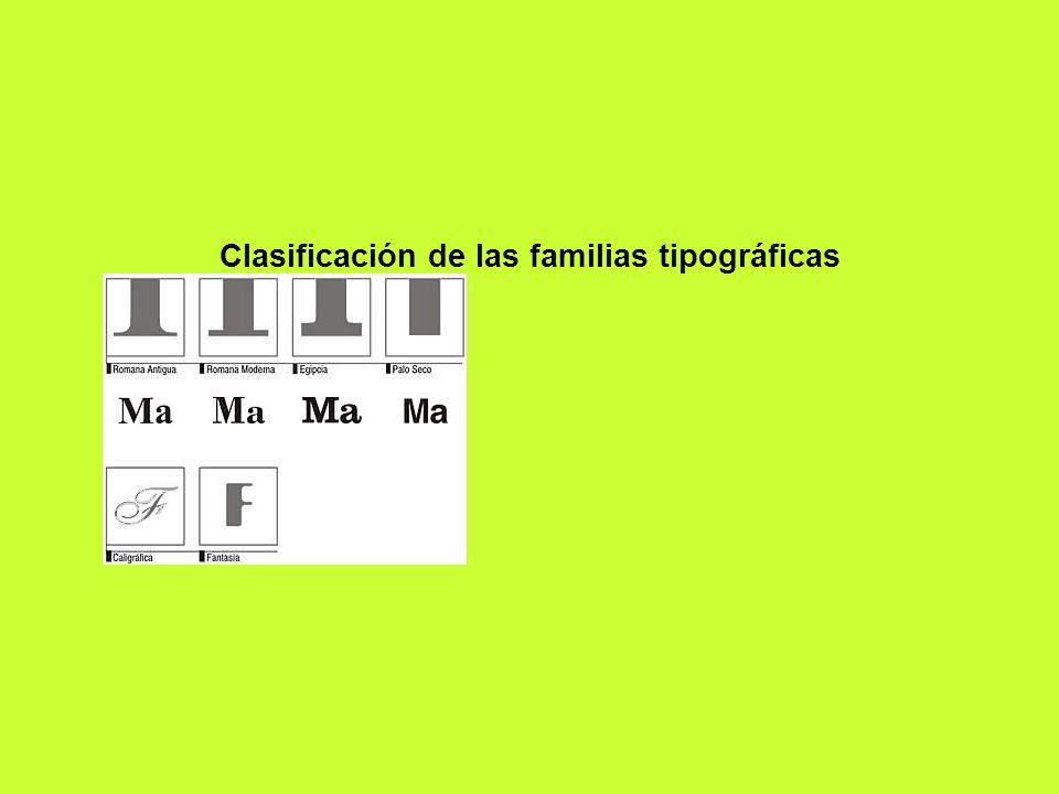 Clasificación de las familias tipográficas