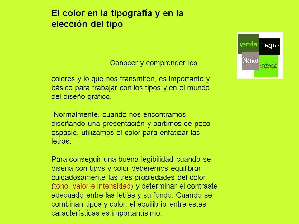 El color en la tipografía y en la elección del tipo