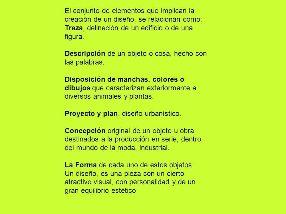 El conjunto de elementos que implican la creación de un diseño, se relacionan como: Traza, delineción de un edificio o de una figura.