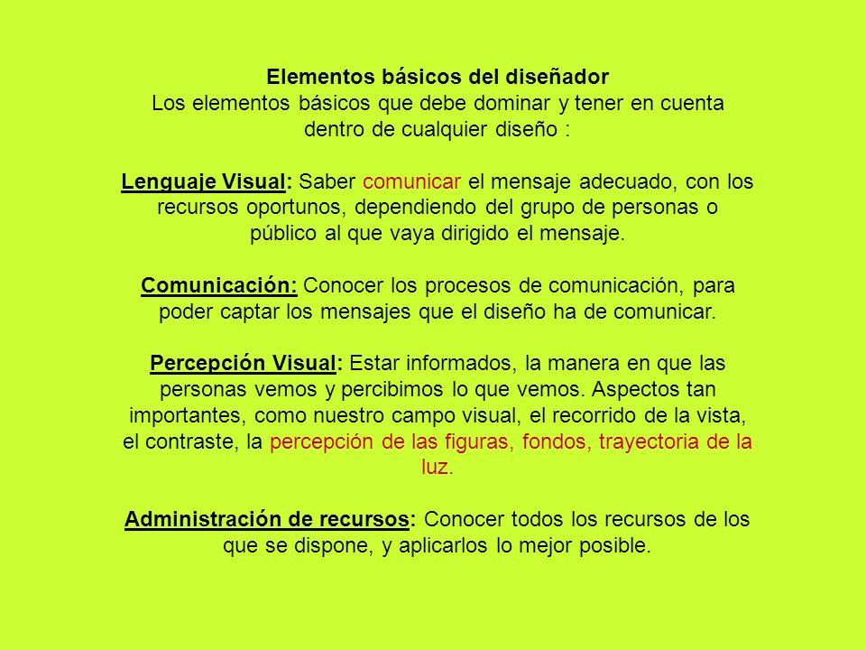 Elementos básicos del diseñador