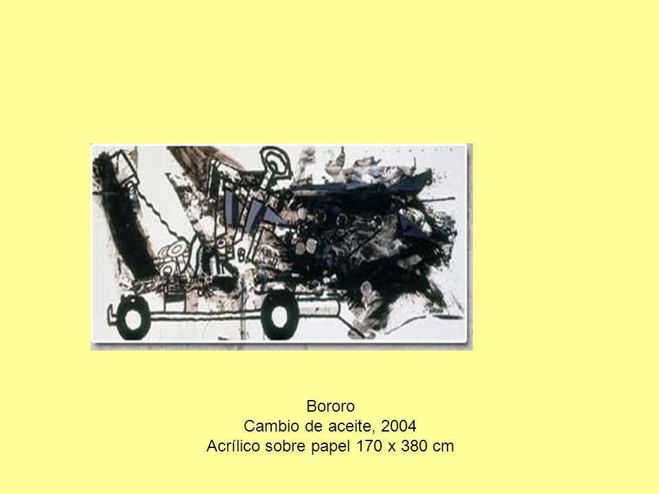 Bororo Cambio de aceite, 2004 Acrílico sobre papel 170 x 380 cm