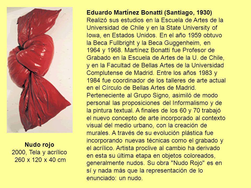 Nudo rojo 2000, Tela y acrílico 260 x 120 x 40 cm