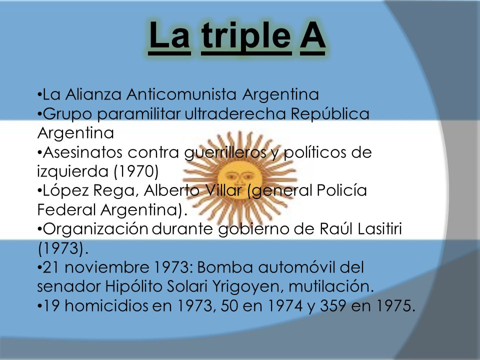 La triple A La Alianza Anticomunista Argentina
