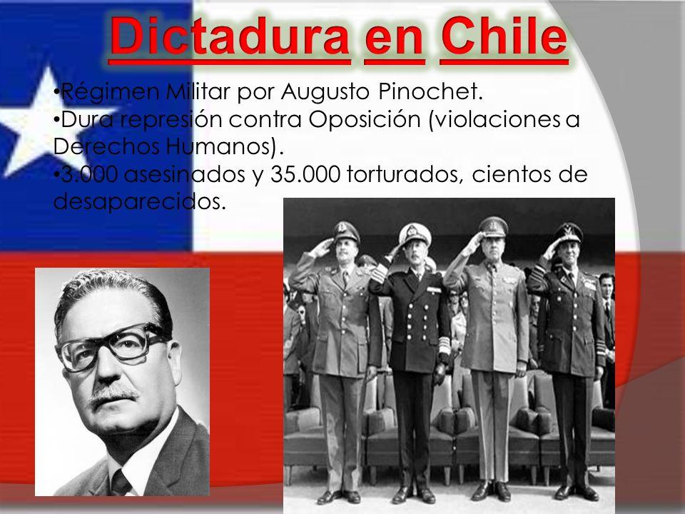 Dictadura en Chile Régimen Militar por Augusto Pinochet.