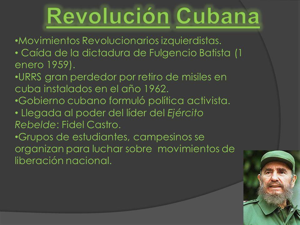Revolución Cubana Movimientos Revolucionarios izquierdistas.