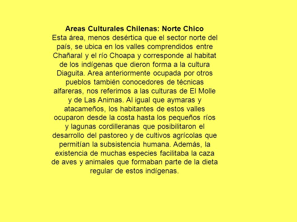 Areas Culturales Chilenas: Norte Chico